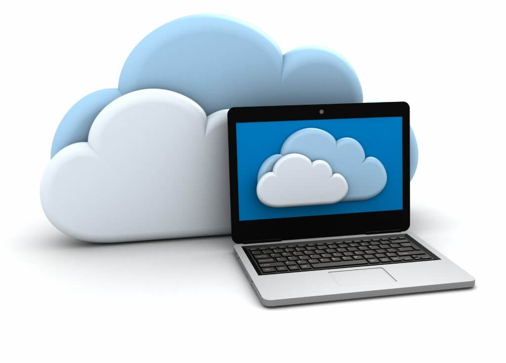 Clouds next to a laptop showing clouds on its screen