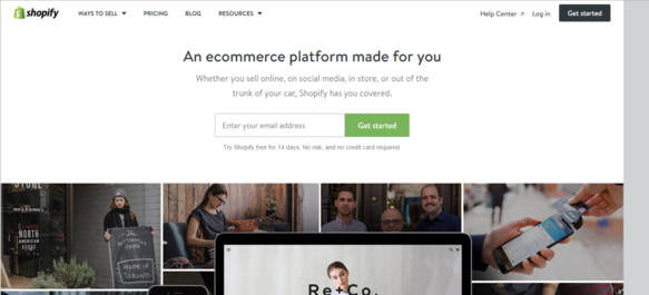 Image of Shopify homepage screenshot