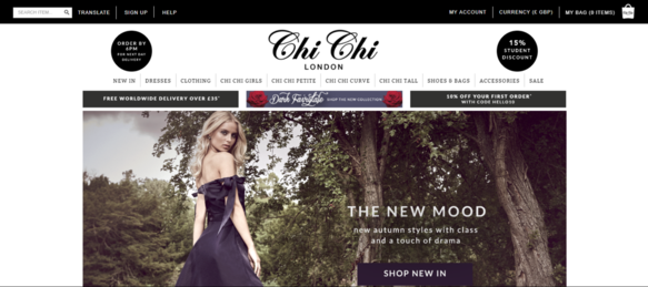 Chi Chi Clothing Website homepage