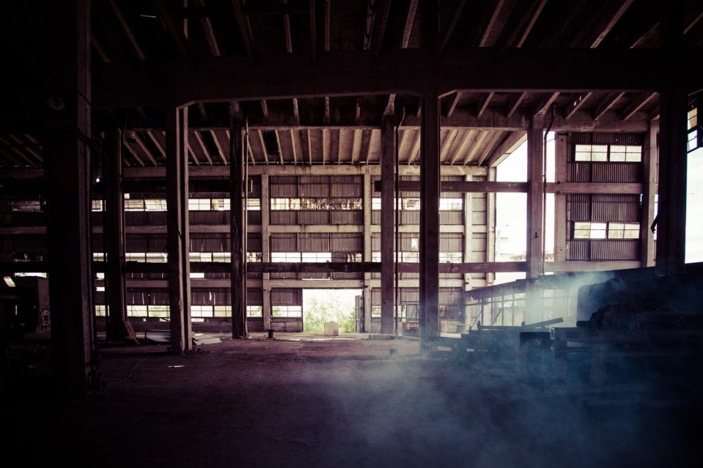 Warehouse with cold misty air - missing walls and windows