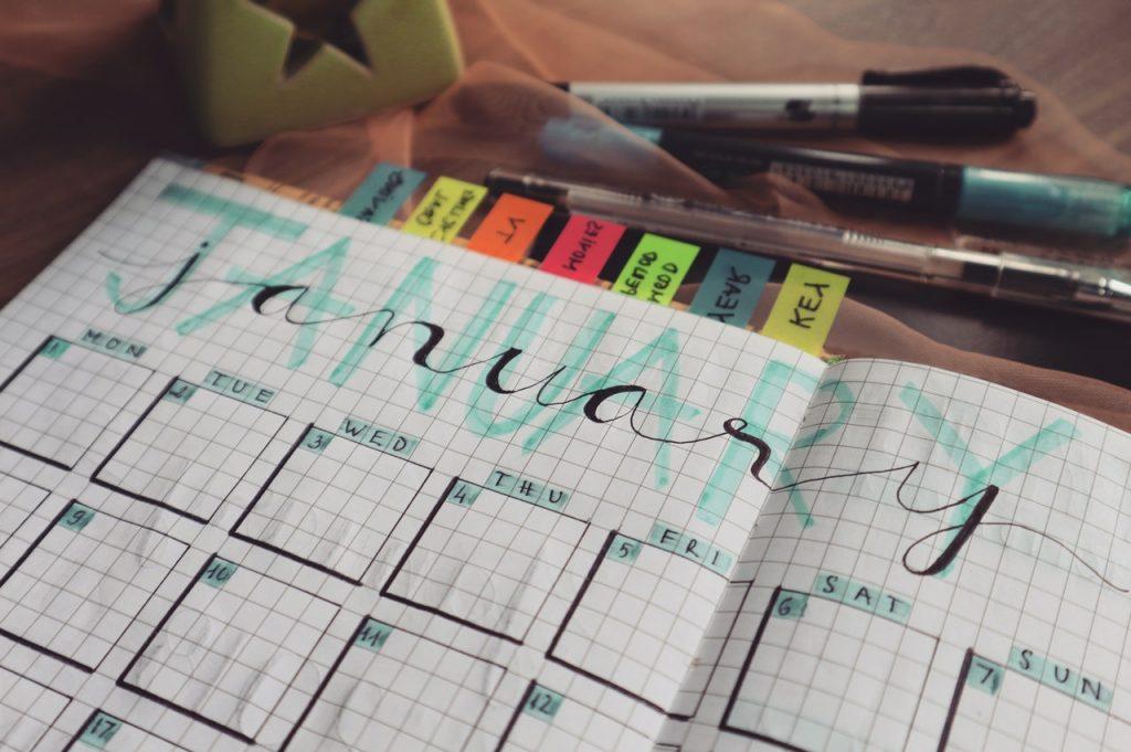 January Calendar in a notepad